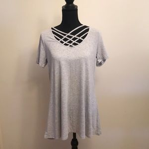 Gray cutout neckline tunic